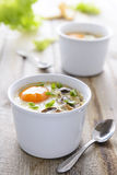 Baked egg with dairy cream and mashrooms Stock Photo