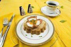 Baked egg on a ham basket Stock Photo
