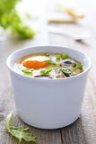 Baked egg with mashrooms and cream Royalty Free Stock Photos