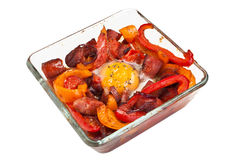Baked egg, pepper and chorizo Stock Photography