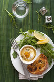 Baked egg with salad and bread Royalty Free Stock Photography
