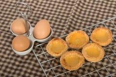 Baked egg tart on tray Royalty Free Stock Photo