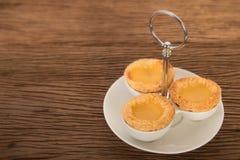 Baked egg tart on tray Royalty Free Stock Photography