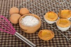Baked egg tart on tray Royalty Free Stock Images