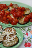 Baked eggplant. With tomato on plate Stock Images