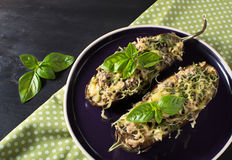 Baked eggplant with basil and cheese. In dark background Royalty Free Stock Photos