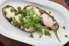 Baked eggplant with cheese and basil Stock Images