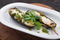 Baked eggplant with cheese and basil Royalty Free Stock Photography