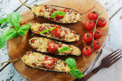 Baked eggplant with cheese meat Stock Photos