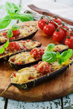 Baked eggplant with cheese meat royalty free stock photography