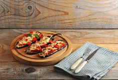 Baked eggplant with cheese and tomato Royalty Free Stock Images