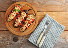 Baked eggplant with cheese and tomato Royalty Free Stock Photo