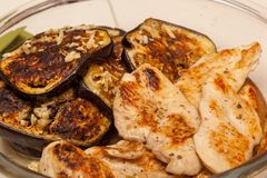 Baked eggplant and chicken royalty free stock photo