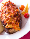Baked eggplant with minced meat. Eggplant  stuffed with minced meat Stock Photos