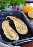 Baked eggplant with olive oil and sea salt Stock Photo