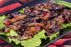 Baked eggplant with onions, garlic, red hot chili pepper and walnuts Stock Images