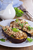 Baked eggplant with quinoa Stock Photography