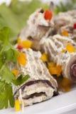 Baked Eggplant rolls stuffed Tomato Stock Images
