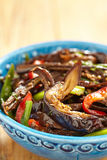 Baked eggplant salad with pepper and green onion Royalty Free Stock Image