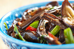Baked eggplant salad with pepper and green onion Royalty Free Stock Photo
