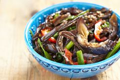Baked eggplant salad with pepper and green onion Stock Image