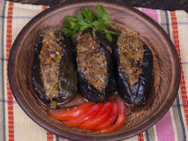 Baked eggplant stuffed with onions, cherry plums and walnuts. On the plate, close up Royalty Free Stock Images