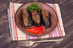 Baked eggplant stuffed with onions, cherry plums and walnuts. On the plate, close up Stock Image