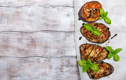 Baked eggplant stuffed with vegetables and cheese Stock Photography