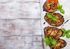 Baked eggplant stuffed with vegetables and cheese Stock Images