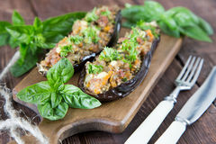 Baked eggplant stuffed with vegetables, meat and cheese Royalty Free Stock Images