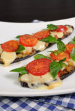 Baked eggplant with tomato and basil and cheese Stock Photography