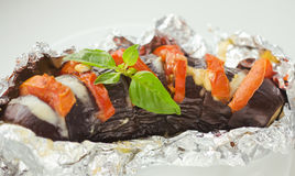 Baked eggplant. With tomato and cheese Royalty Free Stock Images