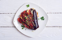 Baked eggplant with tomato. And cheese . Top view , copy space stock images