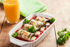 Baked eggplant with tomato sauce and cheese roll Royalty Free Stock Photography