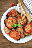 Baked eggplant with tomatoes Stock Photo