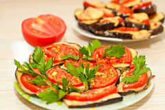 Baked eggplant with tomatoes Royalty Free Stock Photography