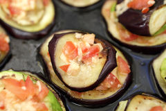 Baked eggplant with tomatoes on a tray Stock Image