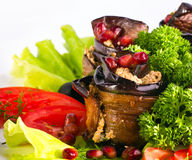 Baked Eggplant with Vegetables Stock Photography