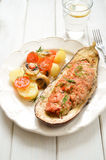 Baked Eggplant with Vegetables and meat Stock Photography