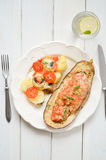 Baked Eggplant with Vegetables and meat Stock Photo