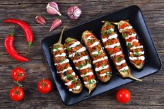 Baked Eggplants Stuffed with Quinoa, top view Stock Photo