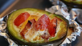 Baked Eggs in avocado stock footage