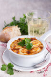 Baked eggs with cheese sauce Royalty Free Stock Photography
