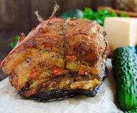 Baked fat. Dish Easter. Close up Stock Photos