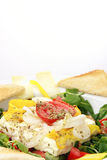 Baked feta cheese on lambs lettuce Royalty Free Stock Image