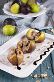 Baked fig with cheese Royalty Free Stock Images