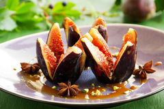 Baked figs with caramel Stock Image