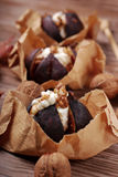Baked figs with cheese,walnuts and honey Stock Photos