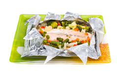 Baked Fillet of Fish in Foil with Vegetables Royalty Free Stock Photos