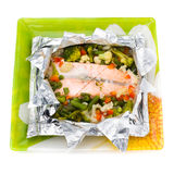 Baked Fillet of Fish in Foil with Vegetables Royalty Free Stock Photography